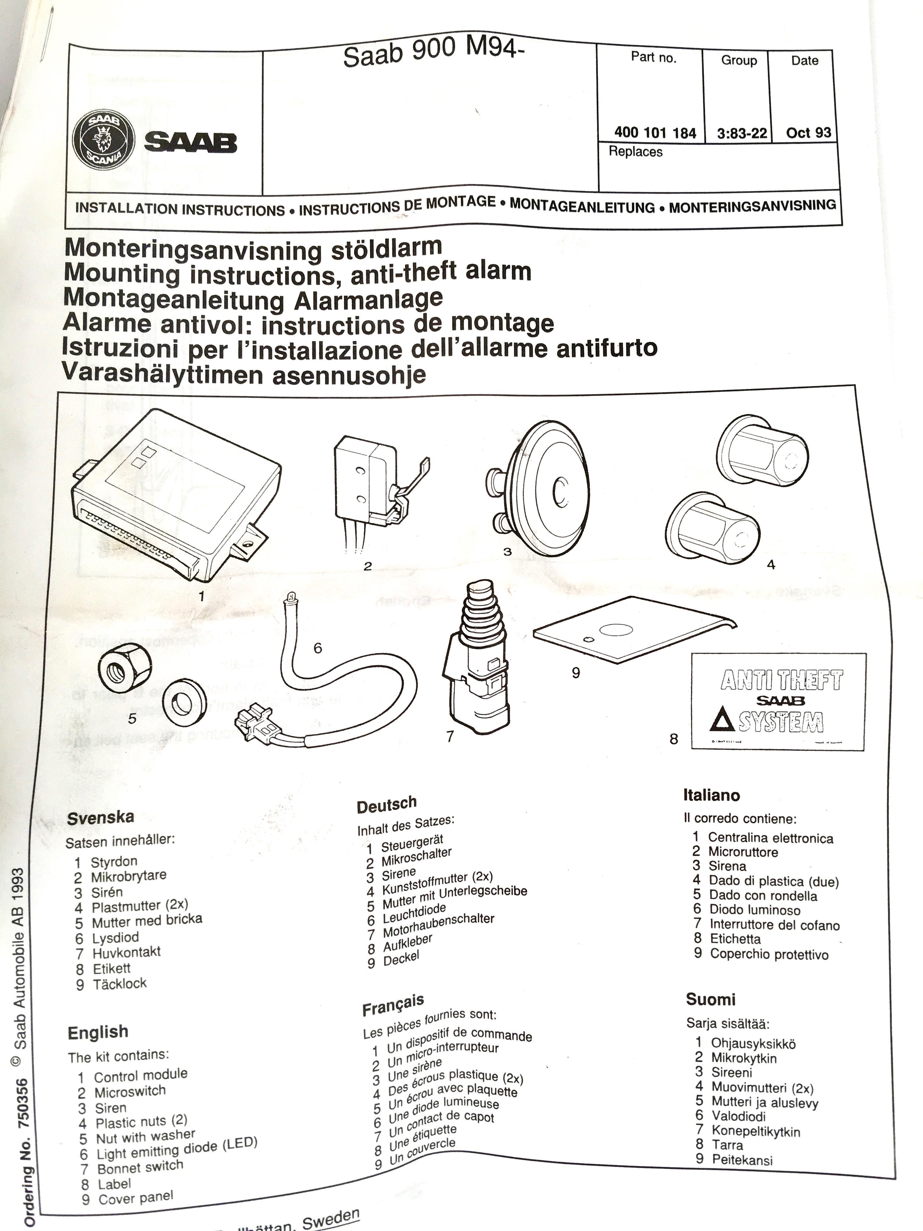 400101184 Anti theft system Saab 900