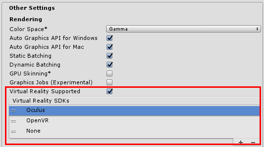 How to change Virtual Reality SDKs list in Unity Build settings (via