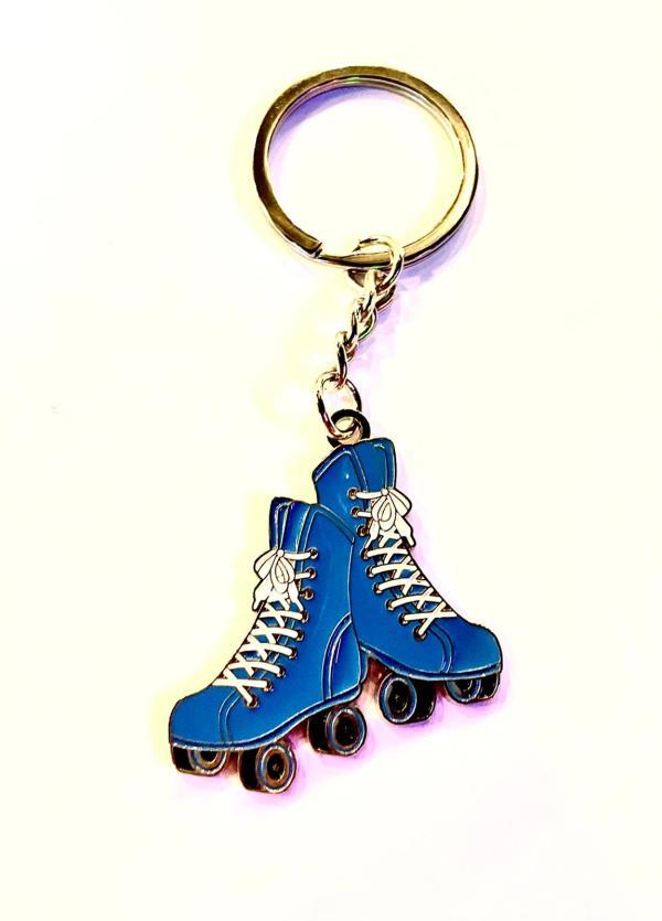 Blauwe rolschaats sleutelhanger