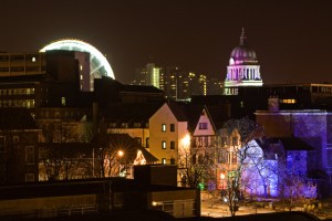 A night-time photo of Nottingham during the annual light night