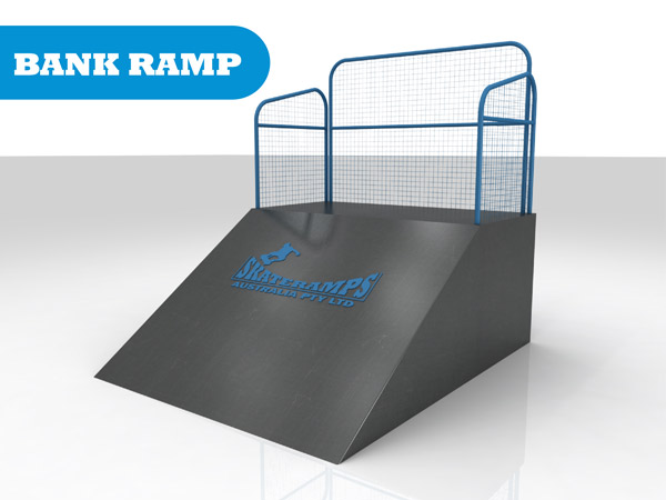 The bank rank skate ramp module is one of the modules available for councils and commercial organisations from Skateramps Australia