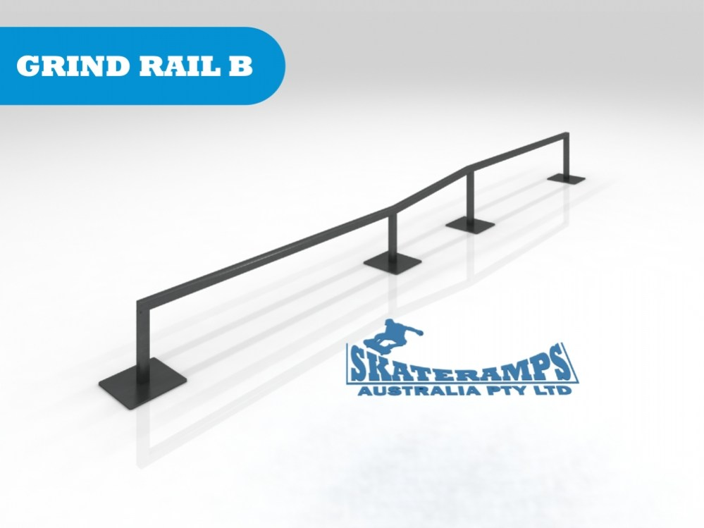 The grind rail skate park module is one of the modules available for councils and commercial organisations from Skateramps Australia