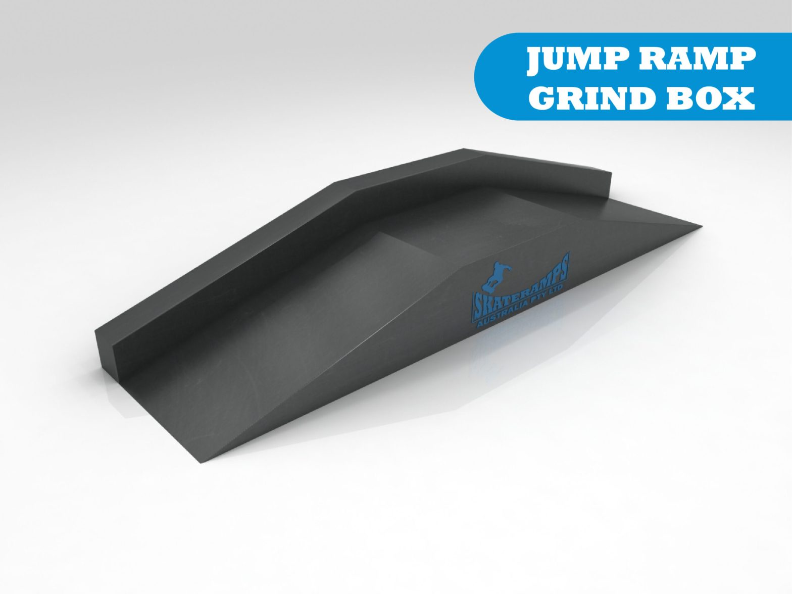 The jump ramp grind box skate ramp module is one of the modules available for councils and commercial organisations from Skateramps Australia