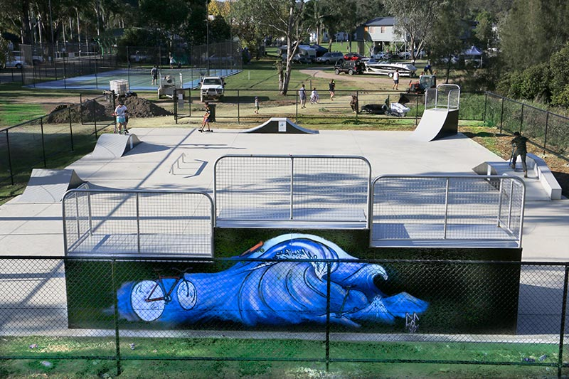 A new steel skate ramp at a Big 4 caravan park. The mural was painted by the owner's daughter.