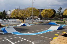 Skateramps Australia pop-up skateramp park, in an inner-city suburb of Melbourne.