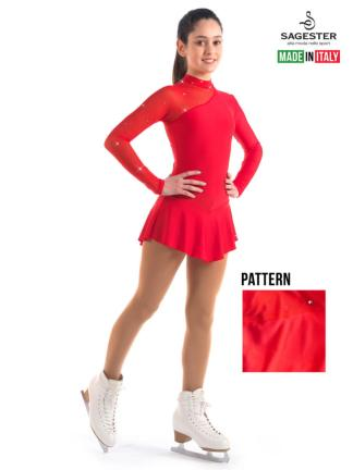 90c5df4481a4 SAGESTER Red Figure Skating Dress #149, Hand-made in Italy, SWAROVSKI  Crystals $109.95 ...