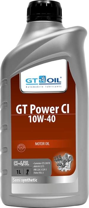 Масло дизельное GT OIL Power CI 10W-40 CI-4/SL полусинтетика 1л