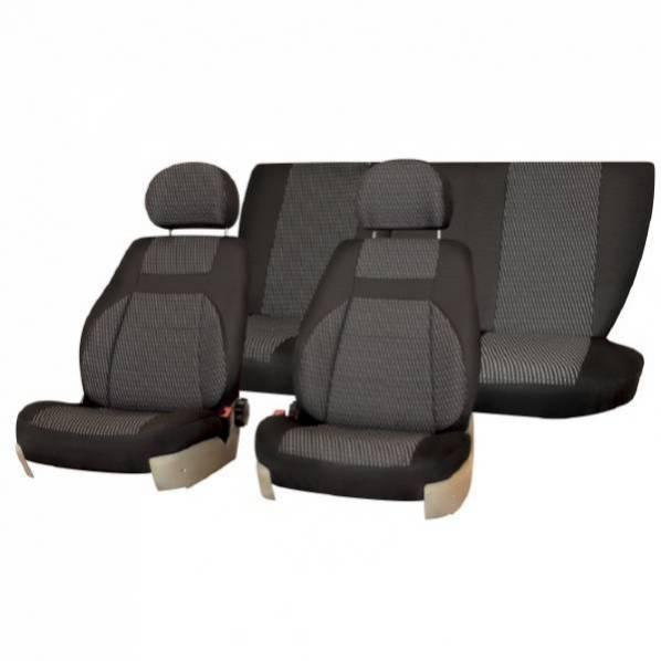 Чехлы сиденья раздельная спинка жаккард SKYWAY VOLKSWAGEN POLO с 2010 седан темно-серый 13 предметов