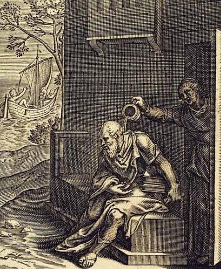 ソクラテスに水を浴びせるクサンティッペ