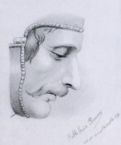 ピカソ・男性の右の顔