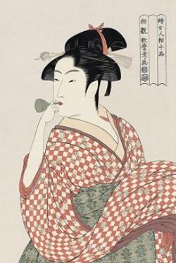ビードロを吹く娘・喜多川歌麿