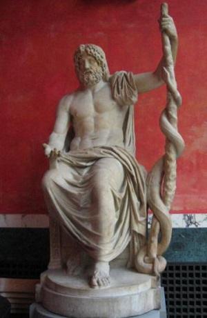 アスクレーピオスの座像