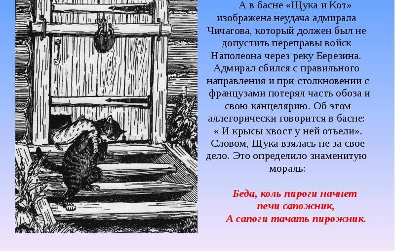 """""""Щука и кот""""И.А.Крылов"""