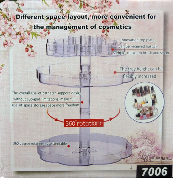 Buy 360° Rotating 3 Tier Acrylic Cosmetic Organizer