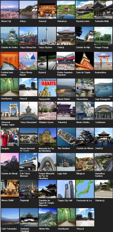 Los 50 lugares más populares de Japón