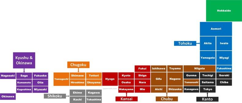 El mapa de japón y sus 8 regiones