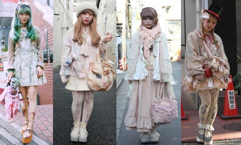 Estilos japoneses - harajuku - lolita - visual kei- decora - gyaru - fairy kei- cult party kei- seifuku kei- dolly kei- mori girl- otome kei- shironuri fashion