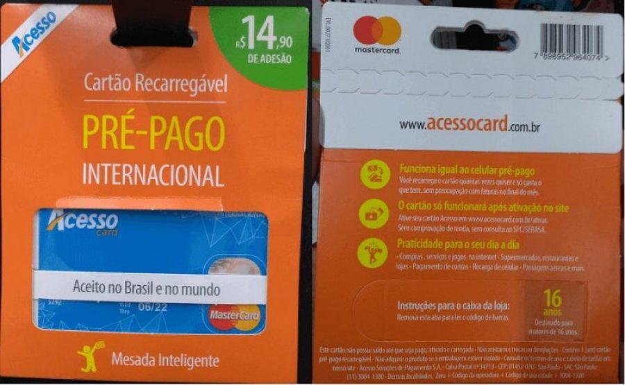 Cartão pré-pago AcessoCard