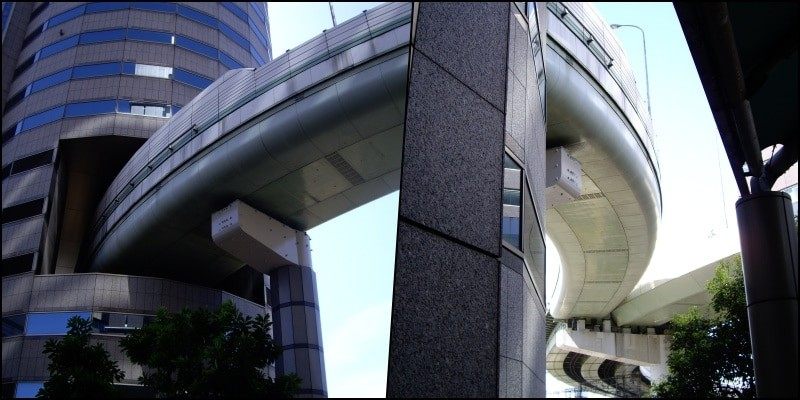 Hanshin Expressway - A via expressa que atravessa um prédio - gate tower hanshin 3