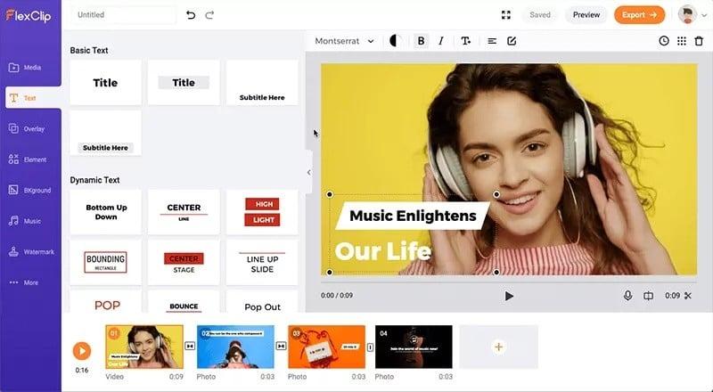 Flexclip - editor de vídeos online