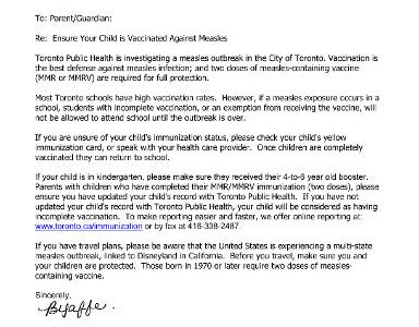 Measles outbreak in Toronto prompts warning to parents