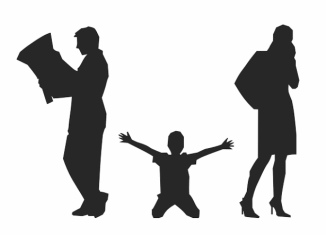 A silhouette of a child on his knees reaching out to two parents. The mother on the phone and the father reading a newspaper.