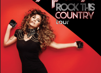 Singer Shania Twain against a red and black background promoting her Rock This Country Tour.