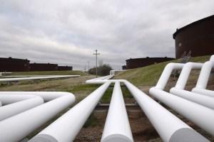 Pipelines run to Enbridge storage tanks. Reuters File Photo.