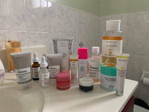 Havoc's collection of skincare products pictured above