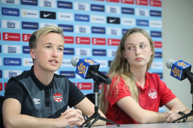 Current Canada Manager Bev Priestman and defender Gabrielle Carle at a press conference for the 2018 CONCACAF Women's U-20 Championship