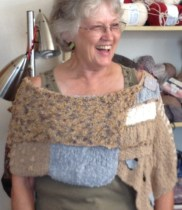 Me (Carolyn) modeling new MaggiKnits shawl