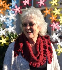 Carolyn's version = more drape around the neck creating cowl effect.