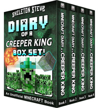 Minecraft Diary of a Creeper King BOX SET - 4 Book Collection 1 - Unofficial Minecraft Books for Kids, Teens, & Nerds - Adventure Fan Fiction Diary Series