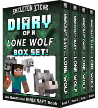 Diary of a Minecraft Lone Wolf BOX SET - 4 Book Collection 1 - Unofficial Minecraft Books for Kids, Teens, & Nerds - Adventure Fan Fiction Diary Series