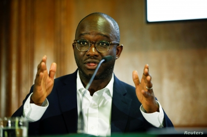 FILE - British politician Sam Gyimah speaks during a People's Vote press conference at the National Institute of Economic and Social Research in London, May 9, 2019.