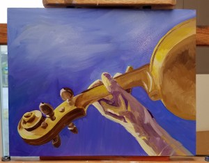 Unfinished oil painting of the neck and scroll of a violin in yellows and browns. Background is purple. Player's hand is in yellows and purples.