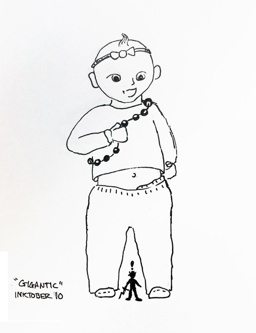Black pen drawing of a small sillouetted man looking up at a giant toddler.
