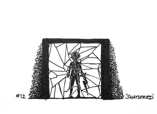 Black pen drawing of a sillouette in a shattered mirror.