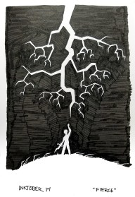 Black pen drawing of a sillouetted man raising fist to sky underneath lightning bolt
