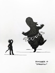 Black pen drawing of a man scratching his head while watching a dancing hippo in a tutu