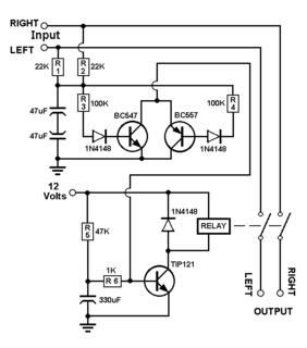 rangkaian speaker protektor stereo 3 transistor