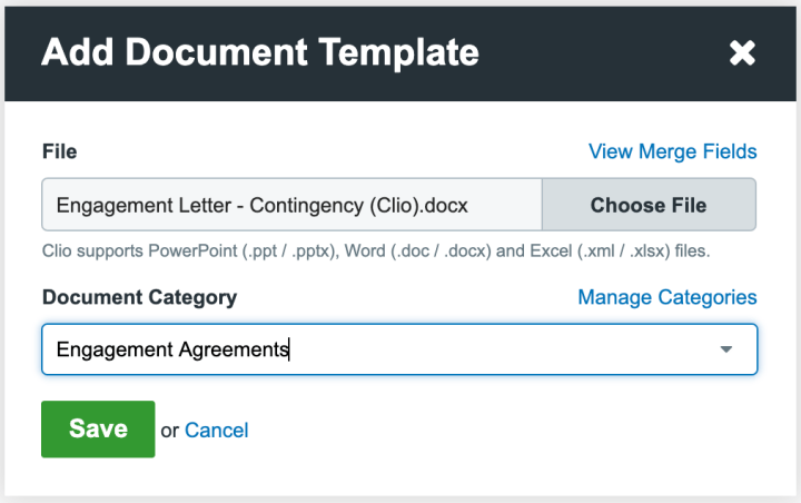 Upload automated document template to Clio