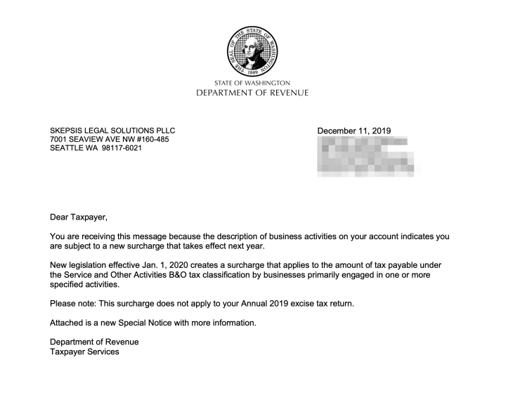 Washington Department of Revenue Workforce Education Surcharge Notice Letter