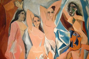 "Les Demoiselles d'Avignon, Paris, June-July 1907. Oil on canvas, 8' x 7' 8"". Pablo Picasso"
