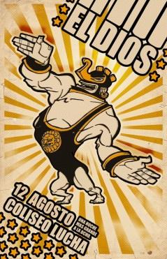 Lucha Libre Cartoon Character Design Illustration Retro Poster Sketchbookjack Cactus Humor Funny El Dios God King Spandex Mayan Maya Aztec Inca
