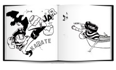 captain crow pirate matey arrr funny humor black and white abc childrens book layout design characters illustration cartoon comic raven letters learning education sketchbookjack art insides anatomy pen and ink bold design funny humorous cartoon comic book layout book mockup book test typography typographic bold strong abcs insides innards carp fish giant dart pub games ear hearing letters jar karate broken glass kicking high kick telescope boat ship rowboat lark bird bird watching