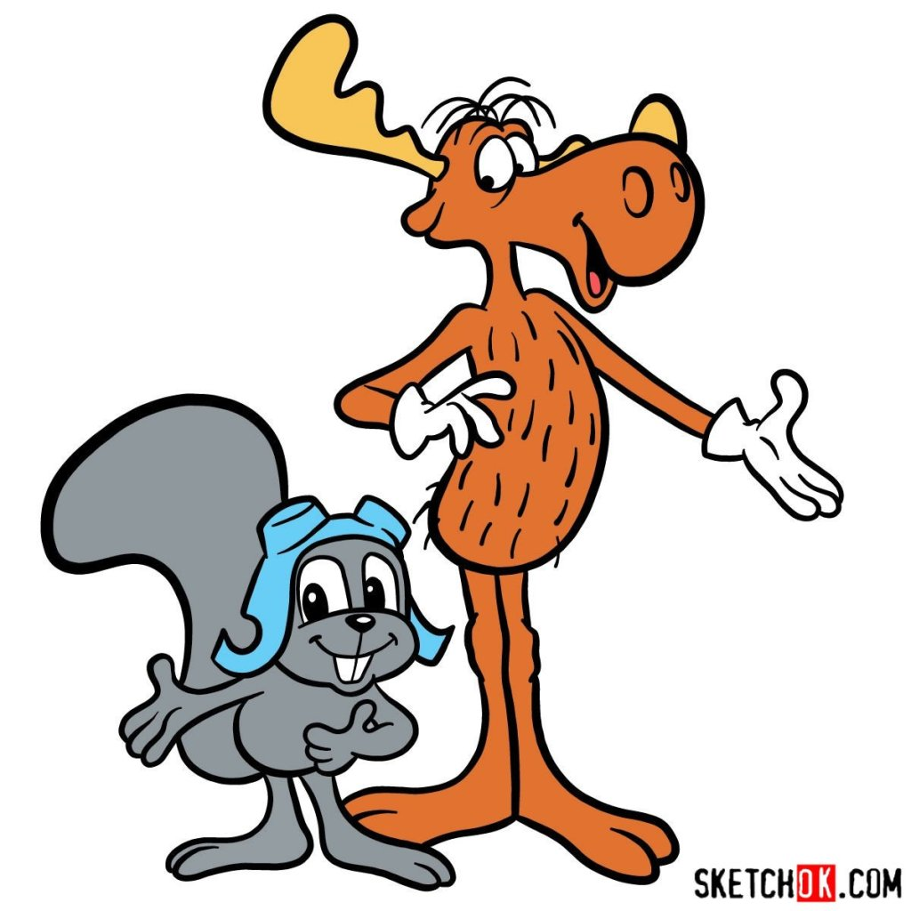How to draw Rocky and Bullwinkle together