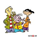 How to draw Ed, Edd and Eddy together