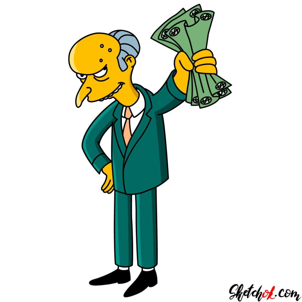 How to draw Monty Burns with money in his hand