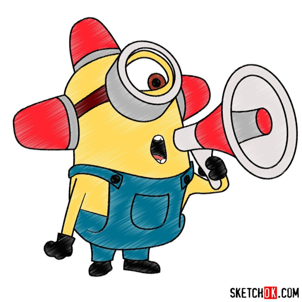 How to draw minion Carl with a loudspeaker